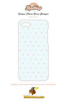 Mini Filled Love Hearts Pattern on Light Blue phone case available for all phone makes and models and can be personalised and purchased from www.mrnutcase.com