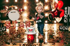 Firts Birthday in rock style cakesmash photosession! Drums, balloons, steam and real tatoo ))) PARTY HARD!