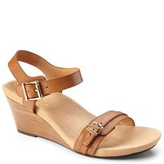 The Vionic Laurie Leather Sandal in Tan. Add height to your Spring step forward!