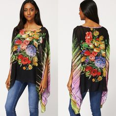 £15. Black Floral Kimono Top With Diamante Detail. One size  Key Features Include: - Sheer Material - Wig Sleeves - Relaxed Fit - Diamante Detail. #eyebrows #beautiful #fashion #beauty #foundation #nails #makeup #hair #mac #goals #want #facebook #outfitoftheday #chanel #pink #uk #lipstick #kyliejenner #girl #dress #shoes #benefit #cosmetics #fabsquad #outfit #ootd #lookbook #Natsboutique #onlineshop