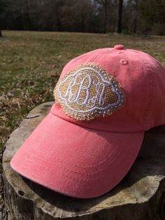 Burlap Monogram Baseball Cap Hat by KatiePickleDesigns on Etsy Burlap  Monogram 41a579fa80f1