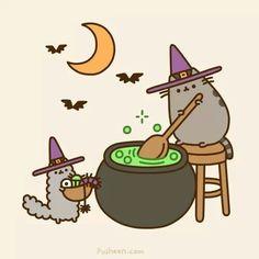 KAWAII pusheen the cat in halloween Kawaii Halloween, Halloween Cat, Happy Halloween, Halloween Witches, Feliz Halloween, Halloween Projects, Halloween Ideas, Halloween Decorations, Nyan Cat