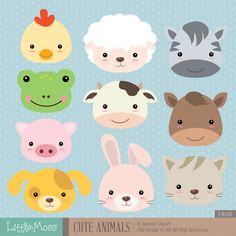 Animales lindo gráfico Digital por LittleMoss en Etsy