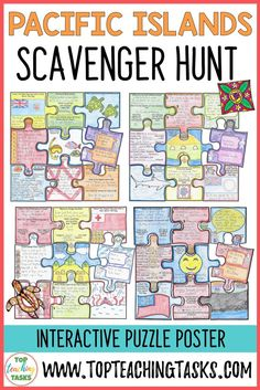 Pacific Islands Scavenger Hunt Puzzle activities. Your students will enjoy the study of the Fiji, Tonga, Samoa, and the Cook Islands with our interactive scavenger hunt and puzzle pack. Learn about the geography, history, language, and culture of these Pacific Island countries. These Samoa activities for kids are great for Samoan Language Week - 27 May to 2 June. Helps with differentiated learning. Features reading comprehension {Year 3, 4, 5, 6, Samoa Language Week, social studies…