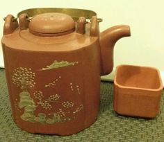 """Vintage #Red Clay #Yixing #Teapot 4-1/2"""" + #Infuser  #Yixing NICE PIECE"""