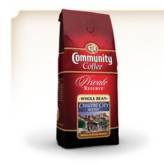 Community Coffee Whole Bean Private Reserve® Crescent City Blend® A spirited New Orleans gourmet coffee blend of good times and great flavor - as interesting as the Crescent City itself! This full-bodied, medium-dark roast coffee is lively and rich. It is a tribute to the rich, bold coffee served in New Orleans.