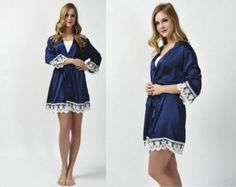 https://www.etsy.com/shop/SOFTAMOR Navy blue satin robes,bridesmaid robes,bride robes.