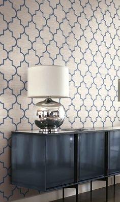 Navy Geometrics covered in String Wallcoverings. From Wallquest's Grass Effect Collection