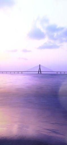 Purple Aesthetic city bridge wallpaper