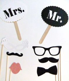 photobooth props for my nephew's birthday party. Sans the Mr and Mrs, of course. Perfect Wedding, Fall Wedding, Diy Wedding, Dream Wedding, Wedding Photo Props, Photo Booth Props, Anniversary Parties, Party Planning, Decoration
