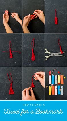handmade bookmarks DIY Bookmark Tassels - The House That Lars Built Creative Bookmarks, Cute Bookmarks, How To Make Bookmarks, Ribbon Bookmarks, Paper Bookmarks, Beaded Bookmarks, Corner Bookmarks, Tassel Bookmark, Bookmark Craft