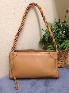Relic Brown Tan Faux Leather Handbag Shoulder Bag Braided Strap Tassel  417415a1d4fe2