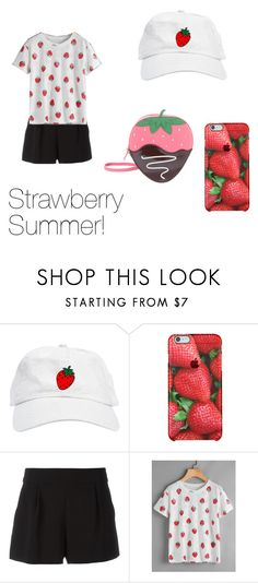 """Strawberry Summer!"" by chessmatilda ❤ liked on Polyvore featuring interior, interiors, interior design, home, home decor, interior decorating, Boutique Moschino and Kate Spade"