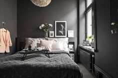 Dark Bedroom Ideas: Unique Decors with Captivating Atmos.- Dark Bedroom Ideas: Unique Decors with Captivating Atmosphere Source by - Dark Gray Bedroom, Modern Bedroom Decor, Small Room Bedroom, Small Rooms, Home Bedroom, Dark Bedrooms, Bedroom Ideas Grey, Dark Grey Bedding, Dark Master Bedroom