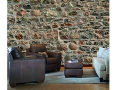 """Mural """"Field Stone Wall"""". A wallpaper mural by Muralunique.com. Photography by Donn Petelka."""