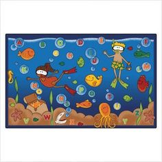 """Undersea Alphabet Adventure Rug Size: 5'10"""" x 8'4"""" by Carpets for Kids. $246.95. 6300 Size: 5'10"""" x 8'4"""" Kids Rug Adds Instant Fun to Learning! It is time to make learning fun with this kids rug! This collection of charming rugs features vivid color schemes and fun, imaginative illustrations, all to promote a great, creative, educational environment for children of all ages to relax and play. These Literacy carpets are created for the purpose of encouraging interes..."""