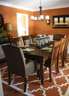Budget  Family Friendly Dining Room Reynard By Sherwin Williams - Orange dining room chairs
