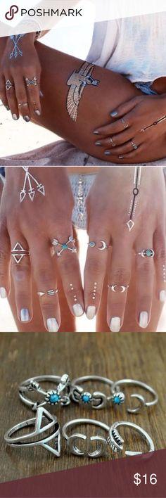 6 Piece Moon & Arrows Midi Ring Set 6 Piece Moon & Arrows Midi Knuckle Ring Set. Jewelry Rings