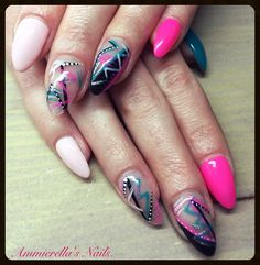 #Nails #SummerNails #NailArt #Picasso #Turqoise #Almond