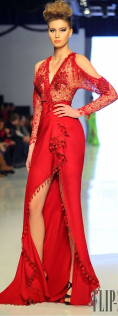 Fouad Sarkis Spring-summer 2014 Couture (this is nice design but too slutty for my taste. i wouldn't wear it. i just like the color and concept. if the fabric on top had a lining and was not see through i might like it)