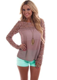 Lime Lush Boutique - Taupe Crochet Chiffon Top, $42.99 (http://www.limelush.com/taupe-crochet-chiffon-top/)