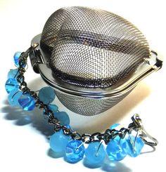 Tea Infuser Heart Shaped Teal Beads by AAngelsBonAppeTea on Etsy, $5.00