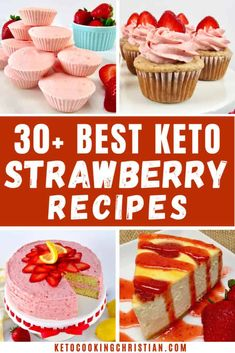 Sugar Free Desserts, Low Carb Desserts, Low Carb Recipes, Strawberry Cream Pies, Strawberry Desserts, Ketogenic Desserts, Ketogenic Diet, Low Carb Ice Cream, Keto Cake