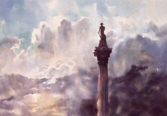 Nelson's Column, detail (full size of painting: 150cm x 100cm, watercolour on Arches cold-pressed 640gsm paper  © copyright 1995 Wayne Roberts.