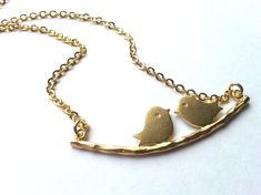 Love Bird Necklace in Gold engagement necklace love gift by CMDetc, $24.00