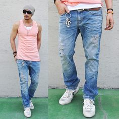 Euro Hipster Fit Damge Vintage-Jeans 66 - GUYLOOK