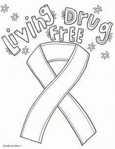 Red Ribbon Week Coloring Pages and Printables - Classroom Doodles Elementary Counseling, Counseling Activities, School Counseling, Drug Free Door Decorations, School Decorations, Kindergarten Rocks, Free Kindergarten Worksheets, Free Printable Coloring Sheets, Free Coloring Pages