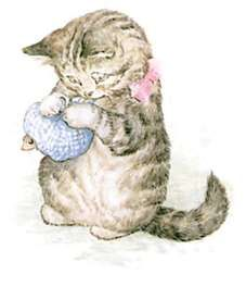Illustration of kitten wrapping mouse in blue scarf by Beatrix Potter for children's story Miss Moppet Beatrix Potter Illustrations, Beatrice Potter, Peter Rabbit And Friends, Vintage Children's Books, Vintage Art, Children's Book Illustration, Book Illustrations, Belle Photo, Tudor