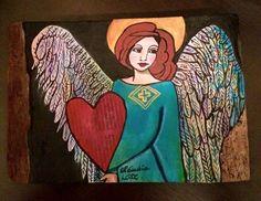 Anjo apaixonado!!!! <br>Quadro feito em madeira de demolição. <br>Pintura a óleo. <br>Dimensões: 25 cm de largura por 17cm de altura. <br>Valor: R$80,00