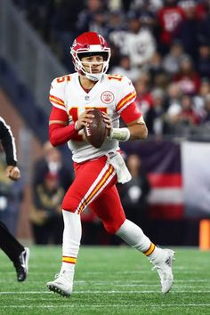 7b501349f Patrick Mahomes of the Kansas City Chiefs looks to throw the football  during a game against