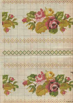 Gallery.ru / Фото #87 - Greek embroidery - GWD Cross Stitch Borders, Cross Stitch Rose, Vintage Cross Stitches, Mini Roses, Border Design, Hama Beads, Needlepoint, Needlework, Embroidery
