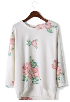 Dip Dye Floral T-shirt in White  #Chicwish cute