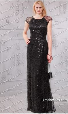 14c3f01f24 fabulous sheer cap sleeves flare sequin gown Black Dresses Formal Dresses