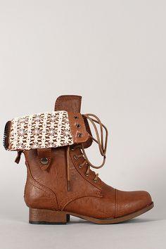 Wild Diva Lounge Jetta-25P Crochet Cuff Military Lace Up Boot on URBANOG! Want so bad!