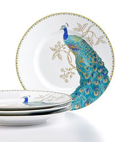 Love the peacock plates :) 222 Fifth Dinnerware, Set of 4 Peacock Garden Salad Plates