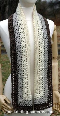 Free crochet pattern: Snowy Evening Bobble Scarf by ABC Knitting