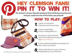 Pin It To Win It! Pin your favorite Clemson products by The Honour Society and you could win a free Clemson Tigers hat, bag or accessory. #honourclemson