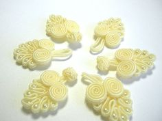 5 pairs Cream Chinese Knot Buttons Frog Closures  NK7 by duckytown