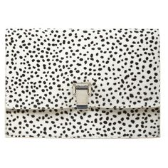 Proenza Schouler Small Lunch Bag Clutch (€535) ❤ liked on Polyvore featuring bags, handbags, clutches, purses, bolsas, leather clutches, leather handbag purse, genuine leather purse, leather purses and polka dot purse