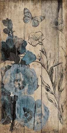 Wood Floral Blue