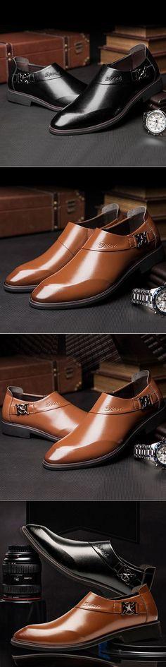 US$35.51 Men Microfiber Leather Pointed Toe Slip On Formal Dress Shoes#wedding#formal#dress shoes#mens #MensFashionFormal