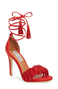 Suede, fringe, ankle lace-ups, and a lipstick red color. Steve Madden gets it right with these fun heels!
