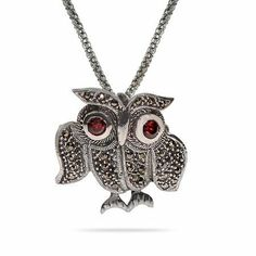 Sterling Silver Marcasite Owl Pin Pendant Length 16 inches (Lengths 16 inches 18 inches Available) Eve's Addiction. $60.00. Approximate Weight: 6.9 gram pendant. Metal Finish: rhodium-finished-sterling-silver. TCW: .2 carats. Charm Size: 1 inch owl