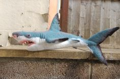 Needle felted great white shark sculpture by WoollyWildThings