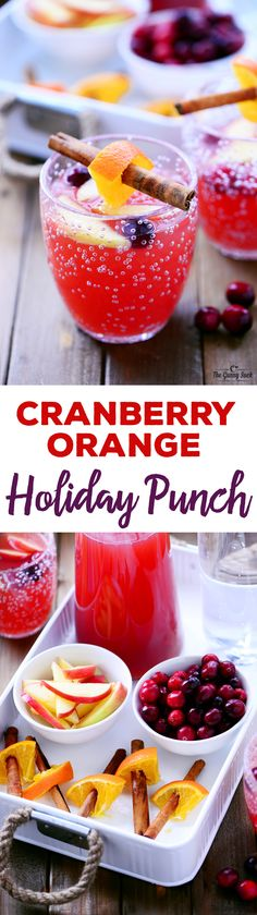 This Cranberry Orange Holiday Punch recipe is delicious and refreshing. It's a holiday beverage everyone can enjoy at your Thanksgiving or Christmas dinner. Sponsored by In The Raw. #punchideas #nonalcoholicpunch
