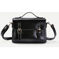 SheIn(sheinside) Faux Leather Satchel Bag With Adjustable Strap ($29) ❤ liked on Polyvore featuring bags, handbags, shoulder bags, black, vegan satchel, satchel handbags, vegan shoulder bags, faux leather purses and vegan handbags